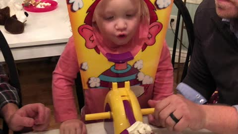 Little Girl has Hilarious reaction to Pie Face Game