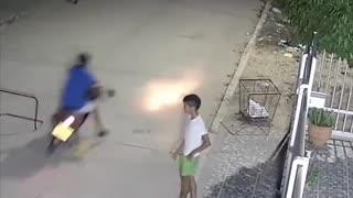 Soccer ball takedown.
