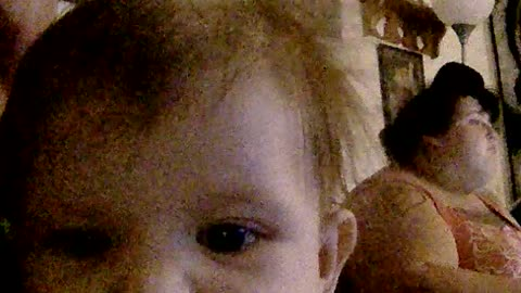 Baby talking on camera