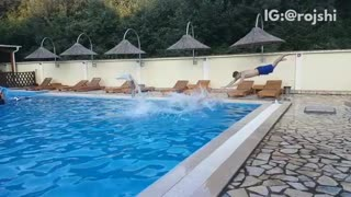 Three guys dive second guy trips and falls into water slow motion