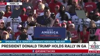 Herschel Walker At Georgia Trump Rally!