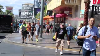 Street preachers on the Las Vegas Strip.
