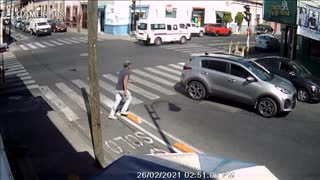 Pedestrian Falls Flat on His Face at Crosswalk