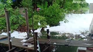 Sea Foam Floats into a Restaurant