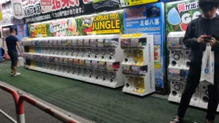 Many Capsule Toy Machines in Shinjuku, Tokyo, Japan - September 2020