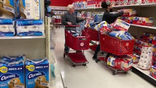 Comedian Pretends to Hoard Toilet Paper in Grocery Store