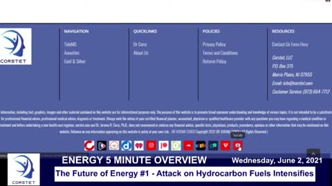 Corstet 5 Minute Overview: The Future Of Energy 1 - Attack On Hydrocarbon Fuels Intensifies