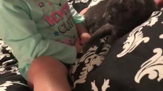 Baby girl hugs her newly rescued kitten