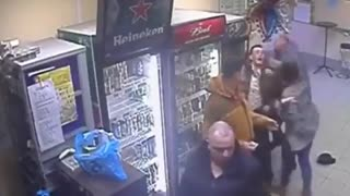 Girl Throws Man Into Another Man