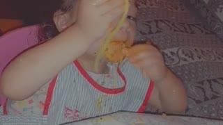 Lovely girl eating spaghetti 🍝
