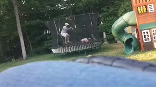 Dad vs daughter + trampoline