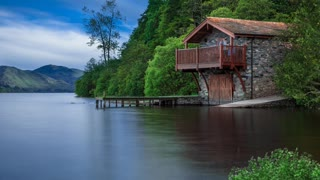 Relax Library: Video 52.Boat House - Birds in the forest with slow running river