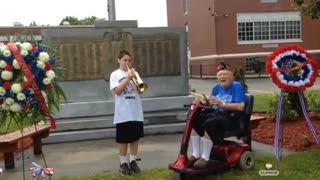11 year old plays music for a veteran after Veterans Day parade was cancelled
