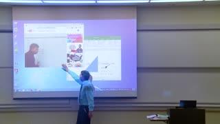 Math Professor Fixes Projector Screen (April fools prank