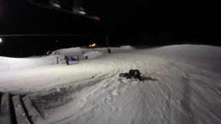Fallen Snowboarder Nearly Gets Squished