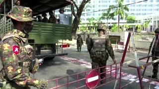 Armored vehicles deploy in Myanmar