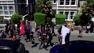 'Kill the Bill' protesters confront police at G7