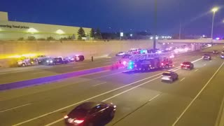 Highway blocked because of accident