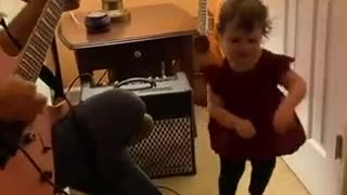 Toddler Excited About Grandpa Playing Her Favorite Song