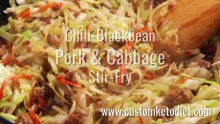 Keto Chili-Blackbean Pork Cabbage Stir-Fry free recipe