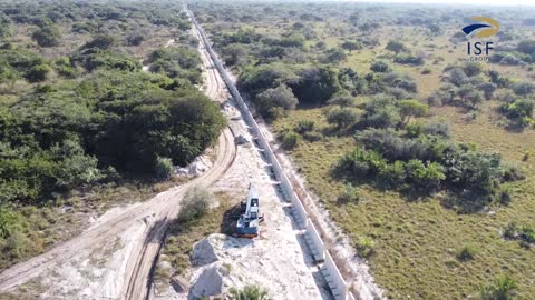 Drone footage of buildings Mozambique border fence in KZN