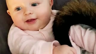 Adorable Baby Plays With Dog's Tail