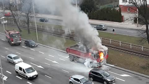 Fire of the truck, Wroclaw, Poland